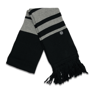 "Scarf - ""U.P. Seal (Hem Tag)"" Black/Heather Grey Striped Scarf (ONLINE ONLY)"