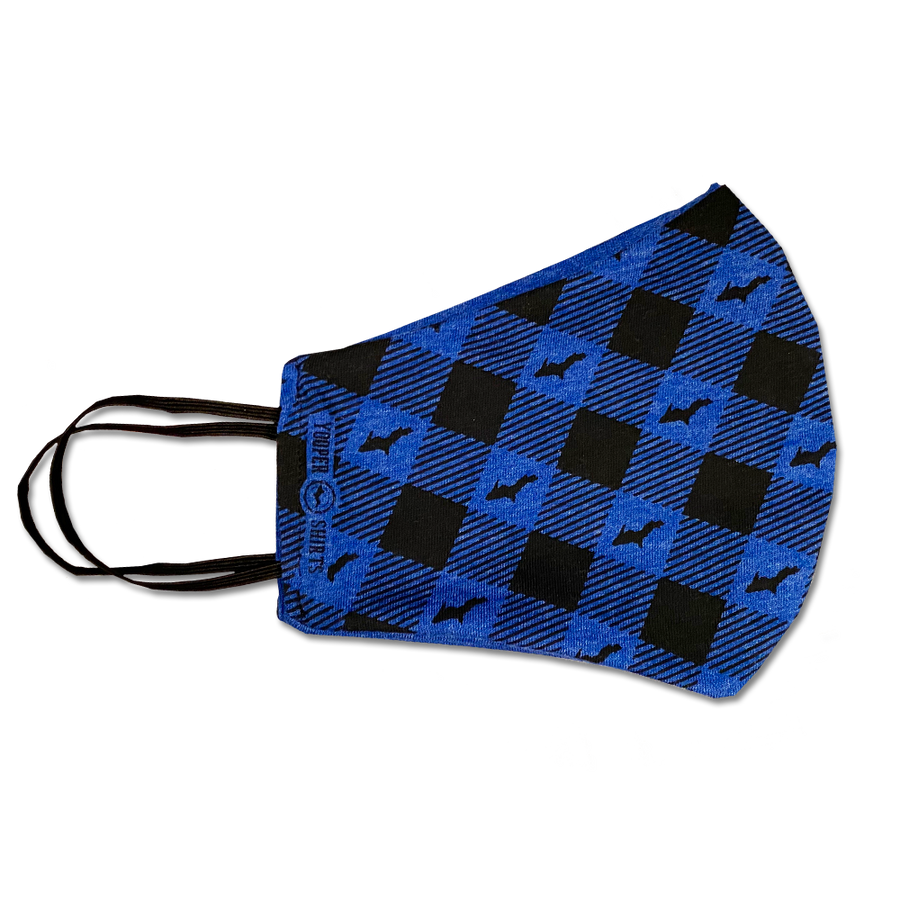 "Face Mask - ""U.P. Silhouette"" Reusable Heather Blue/Black Plaid Non-Medical Grade Face Mask (ADULT)"