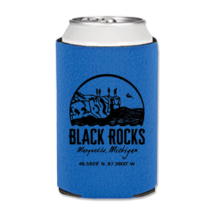 "Can Cozy - ""Black Rocks"" Cerulean Blue"