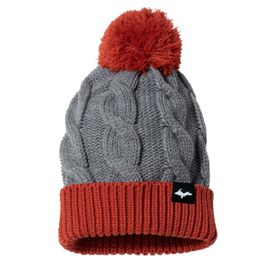"Beanie - ""Upper Peninsula"" Heather Grey/Rust Chunk Twist Knit Beanie"