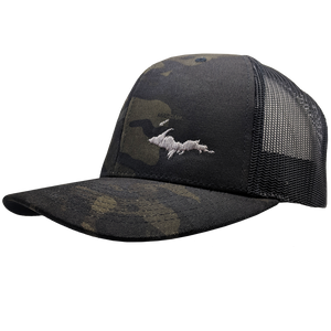 "Hat - ""U.P. Silhouette (Corner)"" Multicam Black/Black Low Profile Trucker Hat"