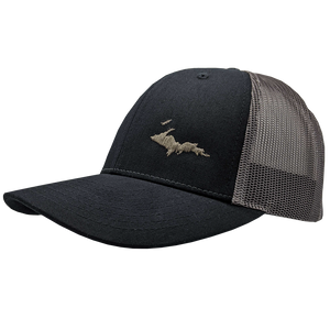 "Hat - ""U.P. Silhouette (Corner)"" Black/Charcoal Low Profile Trucker Hat"