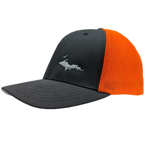 "Hat - ""U.P. Silhouette (Corner)"" Charcoal/Neon Orange FlexFit Trucker Cap"