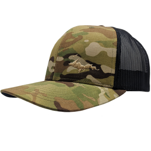 "Hat - ""U.P. Silhouette (Corner)"" Multicam Green/Black Low Profile Trucker Hat"