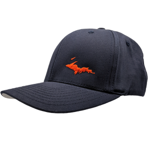 "Hat - ""U.P. Silhouette (Corner)"" Dark Navy FlexFit Structured Cap"