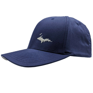 "Hat - ""U.P. Silhouette (Corner)"" White on Navy FlexFit Structured Cap"