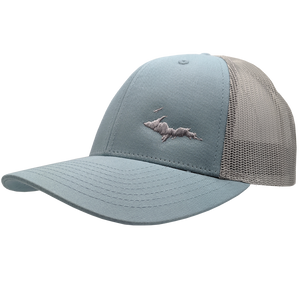 "Hat - ""U.P. Silhouette (Corner)"" Smoke Blue/Aluminum Low Profile Trucker Hat"