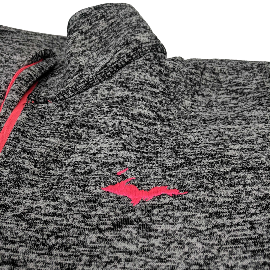 """U.P. Silhouette"" Women's Charcoal Fleck/Fire Coral Cosmic Fleece 1/4 Zip"