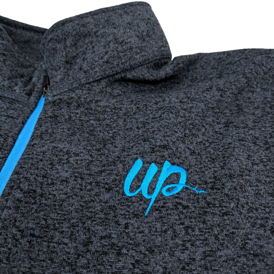 """U.P. Script"" Women's Onyx Fleck/Electric Blue Cosmic Fleece 1/4 Zip"