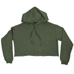 """U.P. Seal"" Women's Military Green Cropped Fleece Hoodie"