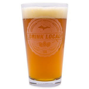 """Drink Local"" 16 oz. Pub Glass"