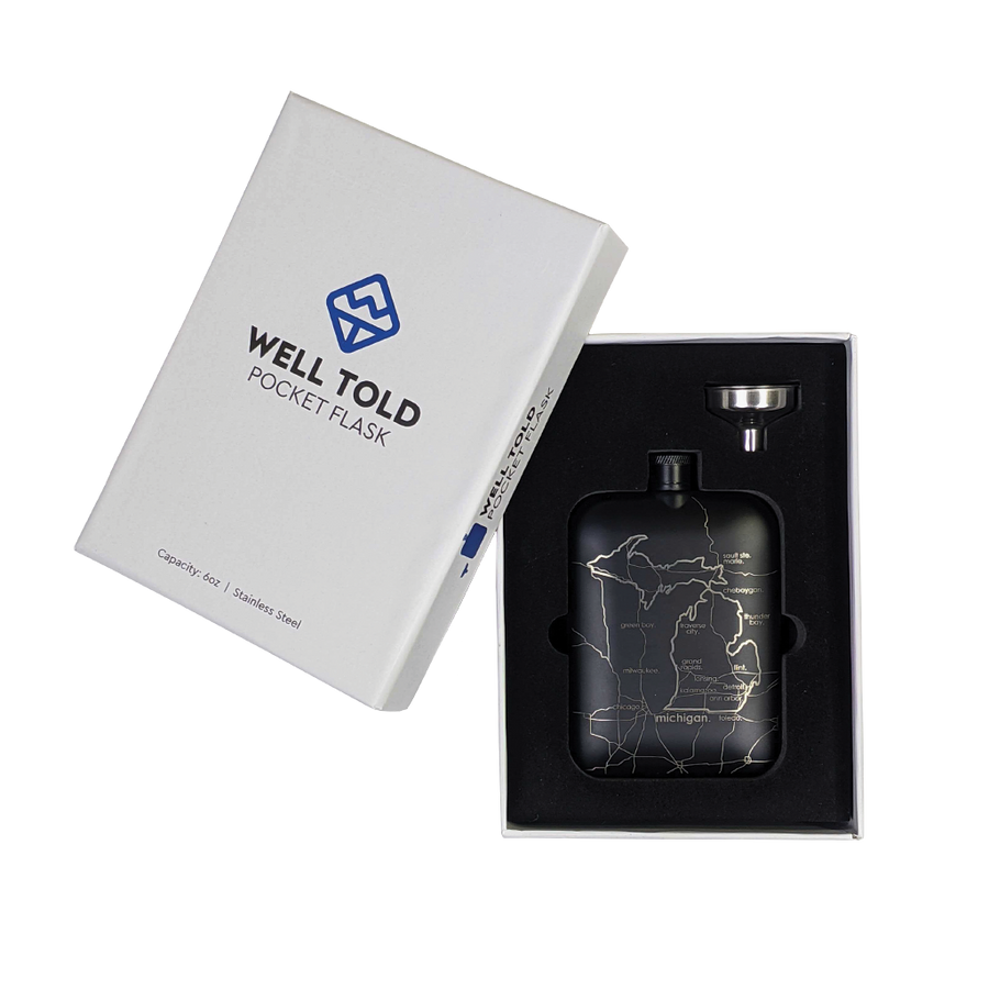 """Michigan"" Black 6 oz. Pocket Flask"