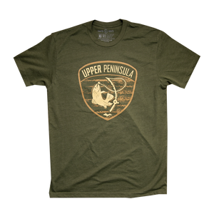 """U.P. FISHIN"" Military Green T-Shirt"