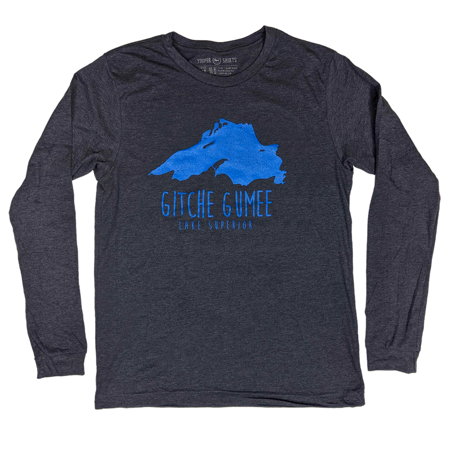"""Lake Superior/Gitche Gumee"" Heather Navy Longsleeve T-Shirt"