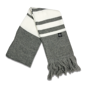 "Scarf - ""U.P. Seal (Hem Tag)"" Heather Grey/White Striped Scarf"