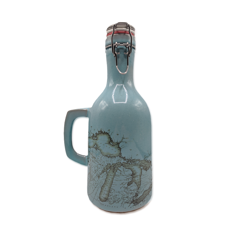 """Great Lakes"" 64 oz. Glossy Blue Beer Growler"