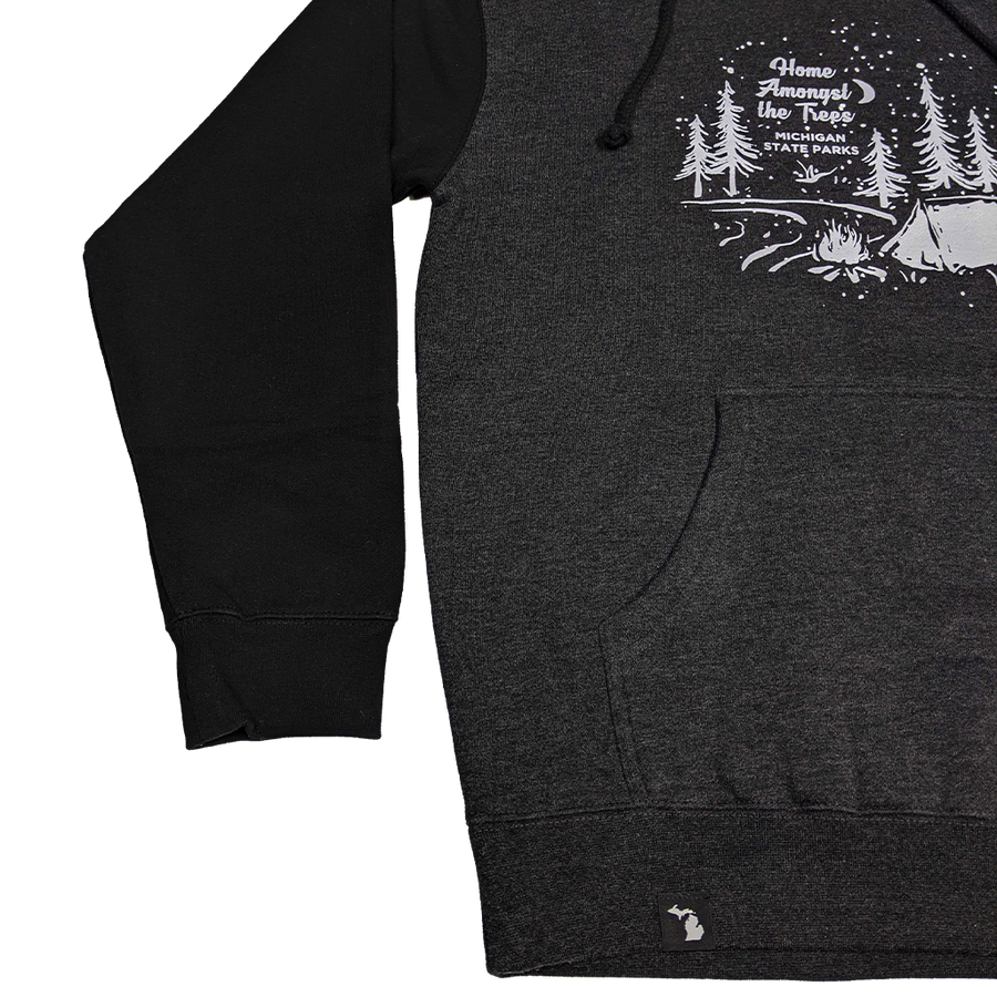 """Home Amongst the Trees"" Heather Charcoal/Black Heavyweight Hoodie"