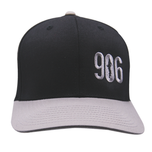 "Hat - ""906"" Black/Silver FlexFit Structured Cap"