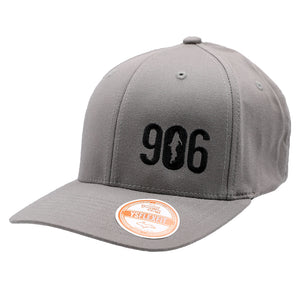 "Hat - ""906"" Black on Grey FlexFit Structured Cap"