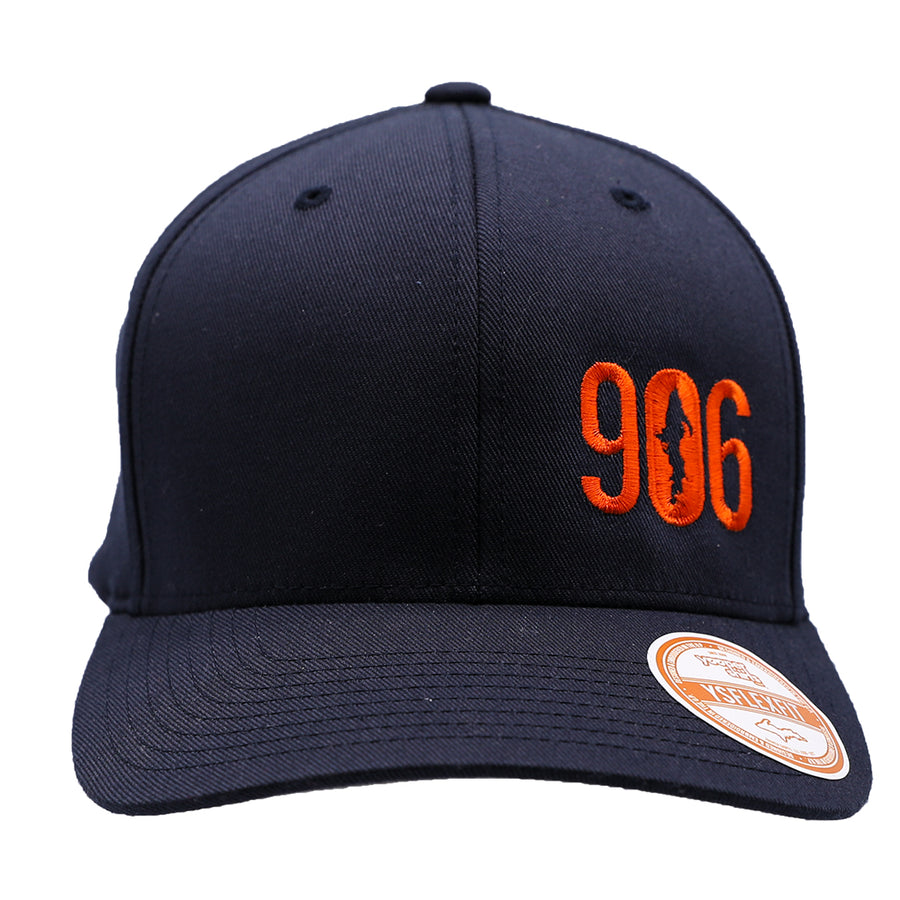"Hat - ""906"" Orange on Dark Navy FlexFit Structured Cap"