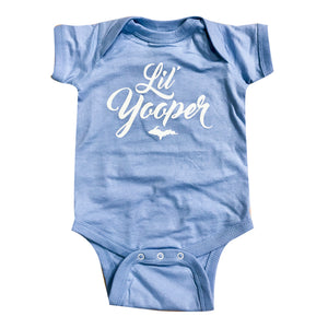 "INFANT - ""Lil Yooper"" Light Blue Raglan Onesie"
