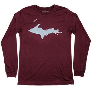 """U.P. Silhouette (Islands)"" Heather Cardinal Longsleeve T-Shirt"
