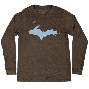 """U.P. Silhouette (Islands)"" Heather Brown Longsleeve T-Shirt"