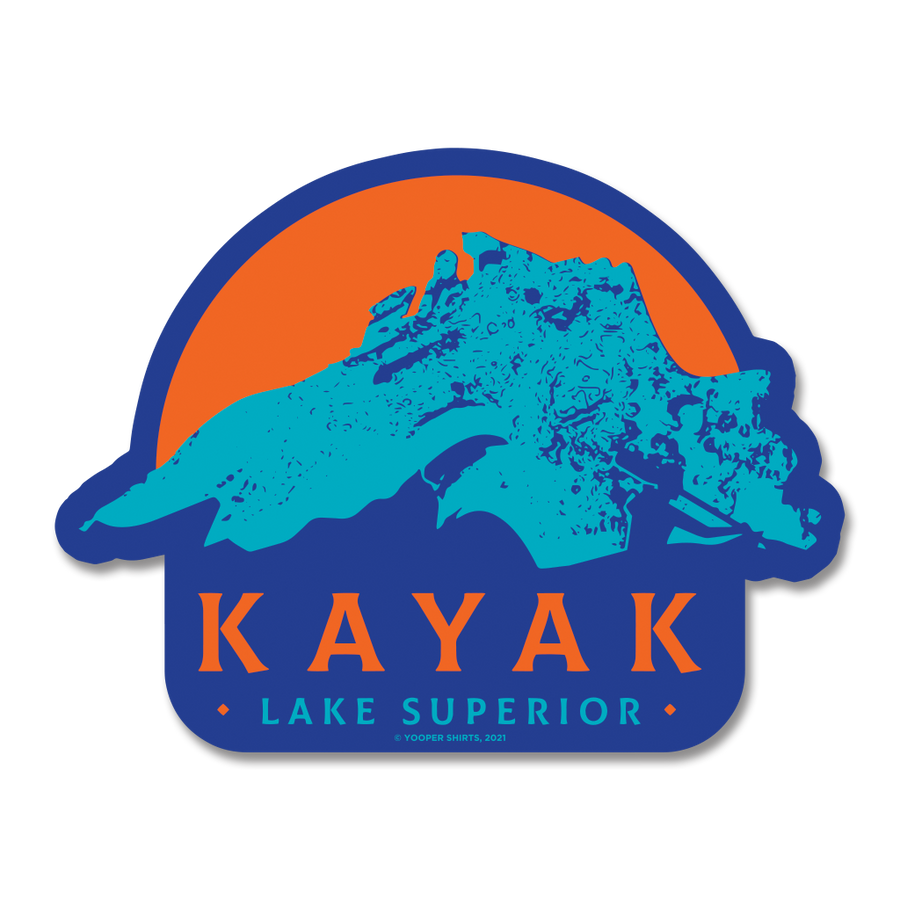 "Sticker - ""Kayak Superior"" 5"" Royal Blue Window Decal"
