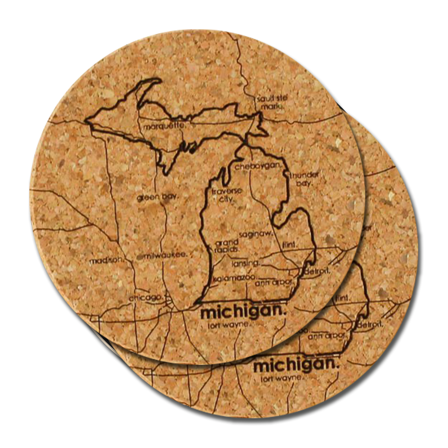 "Coaster - ""Michigan"" Cork Coaster (Pair)"