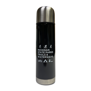 """Michigan Snowflake/Things To Do"" 17 Oz. Black Stainless Steel Vacuum Flask"