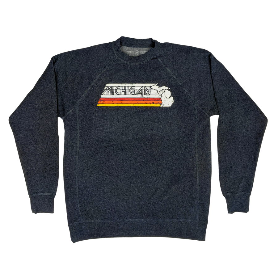 """Michigan Faded"" Heather Navy Raglan Crewneck Sweatshirt"