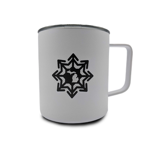 """Michigan Snowflake/Things To Do"" 13.5 oz. White Powder Coated Travel Mug"