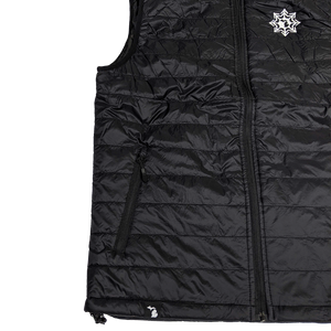 """Michigan Snowflake"" Women's Black Puffer Vest"