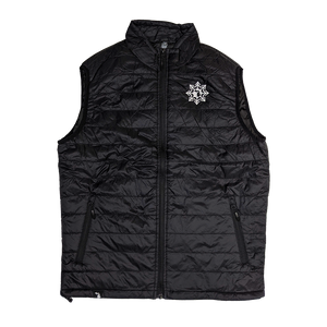 """Michigan Snowflake"" Black Puffer Vest"