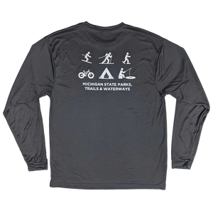 """Michigan Snowflake/Things To Do"" Graphite Performance Longsleeve T-Shirt"