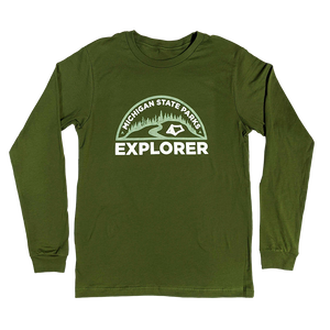 """Michigan State Parks Explorer"" Olive Longsleeve T-Shirt"