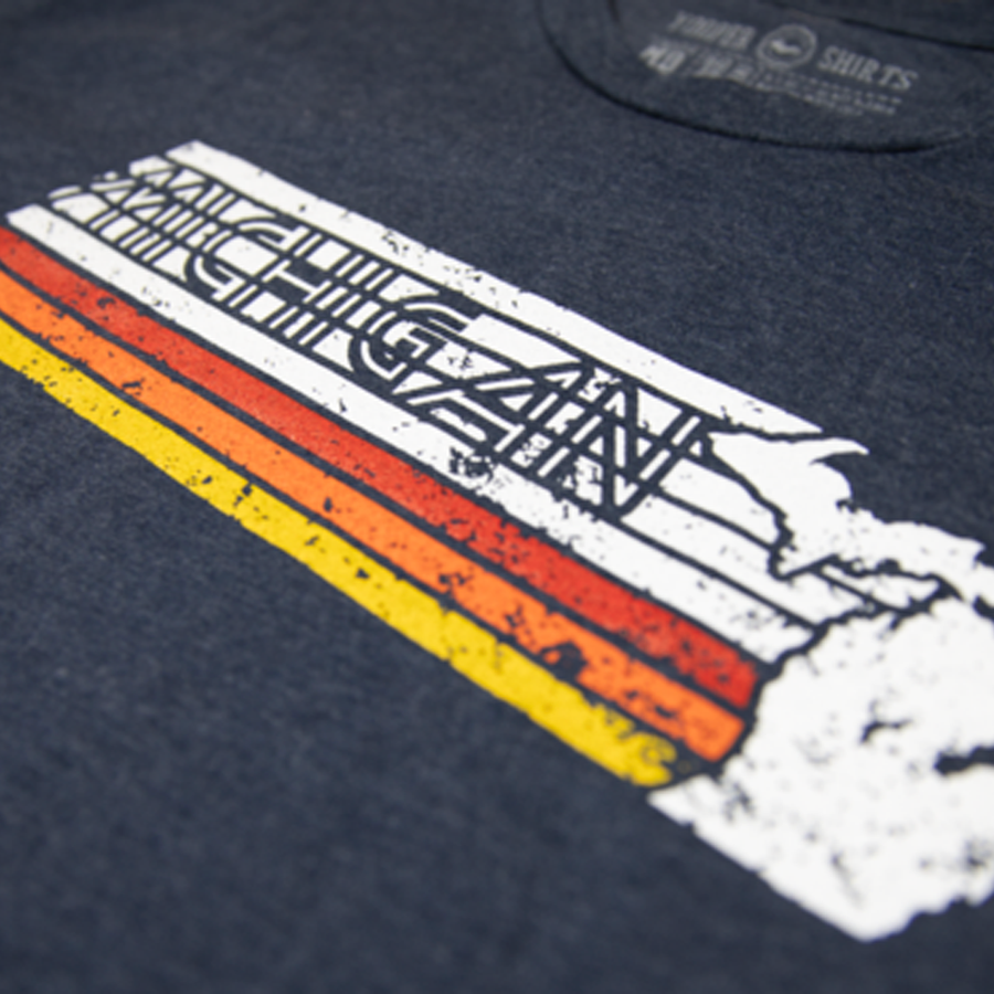 """Michigan Faded"" Heather Navy T-Shirt"