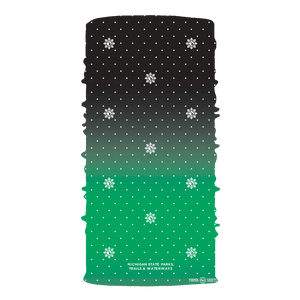"Face Mask - ""Michigan Snowflake"" Black/Green Neck Gaiter"