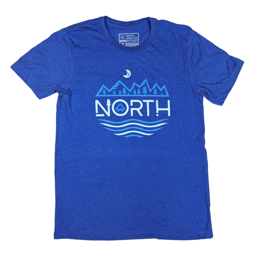 """NORTH MTNS"" Heather True Royal T-Shirt"