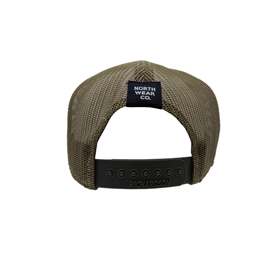 "Hat - ""NWCo. (Icon)"" 3D PUFF Black/Camo/Loden 7-Panel Trucker Hat"