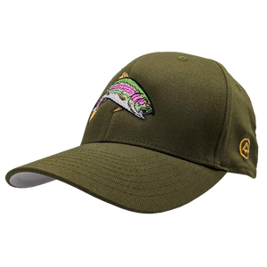 "Hat - ""Rainbow Trout"" Olive Flexfit Structured Cap"