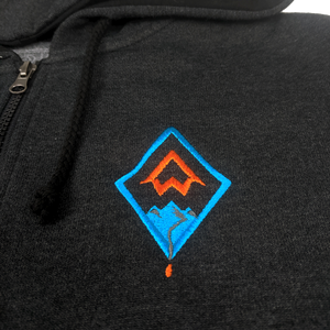 """DIAMOND"" Heather Black/Heather Charcoal 1/2 Zip Pullover Hoodie"