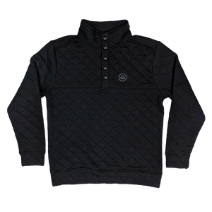 """NWCo. Icon (Patch)"" Black Quilted Snap Pullover"