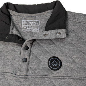 """NWCo. Icon (Patch)"" Heather Charcoal Quilted Snap Pullover"