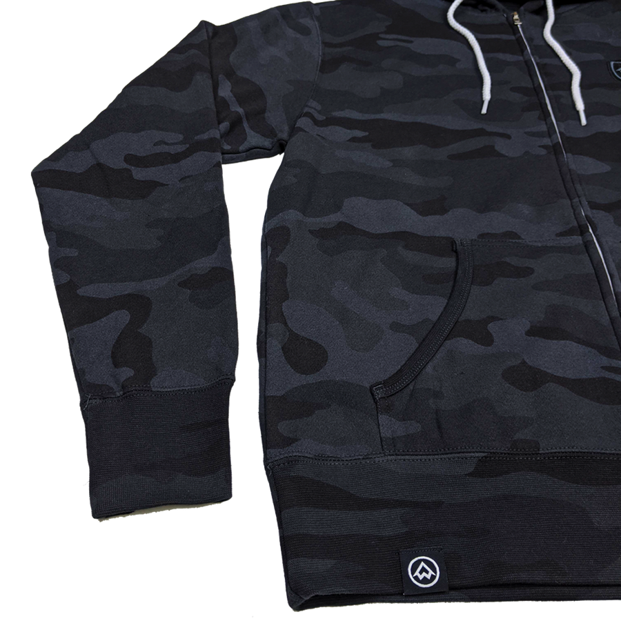 """NWCo. Icon (Patch)"" Black Camo Zip-UP Hoodie"