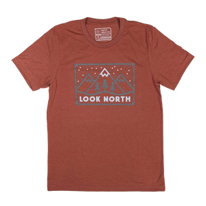 """LOOK NORTH (Stamp)"" Heather Clay T-Shirt"