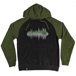 """Pine Sounds"" Heather Charcoal/Heather Army Midweight Pullover Hoodie"