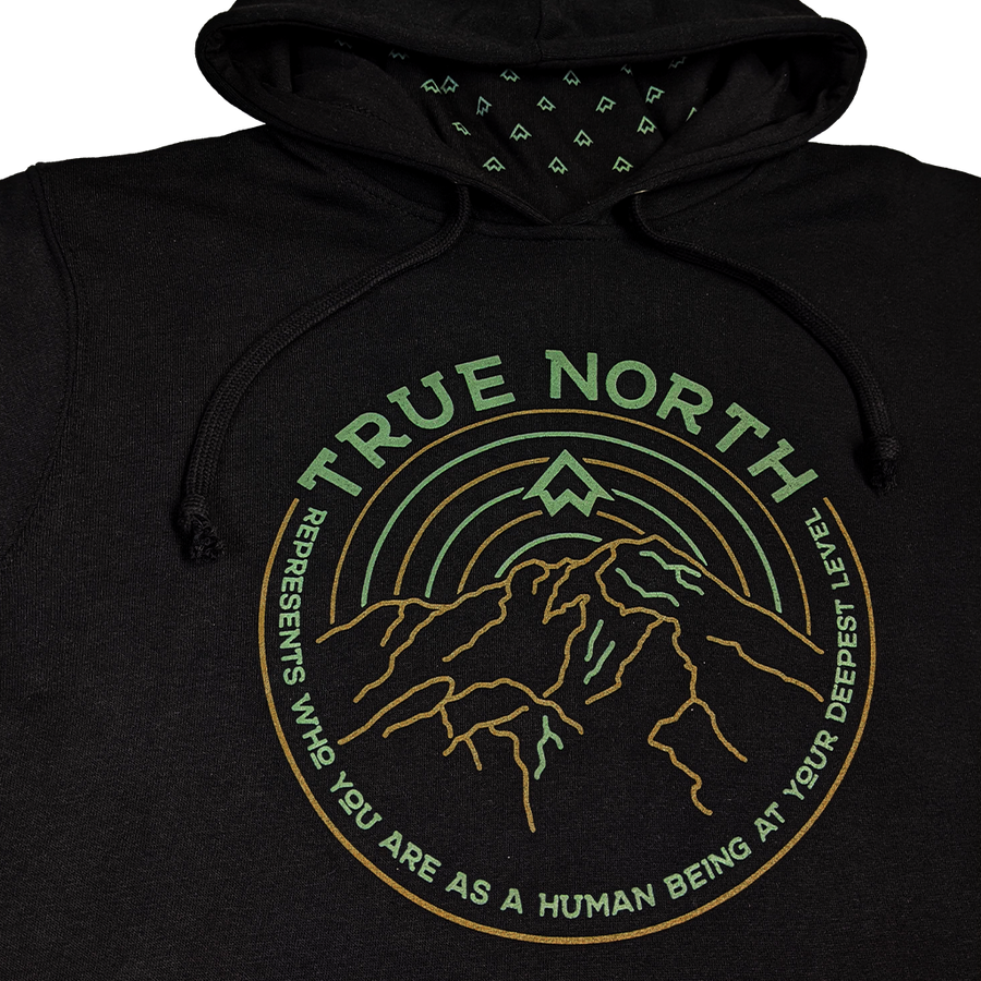 """TRUE NORTH"" Black Built-in Gaiter Fleece Midweight Hoodie"
