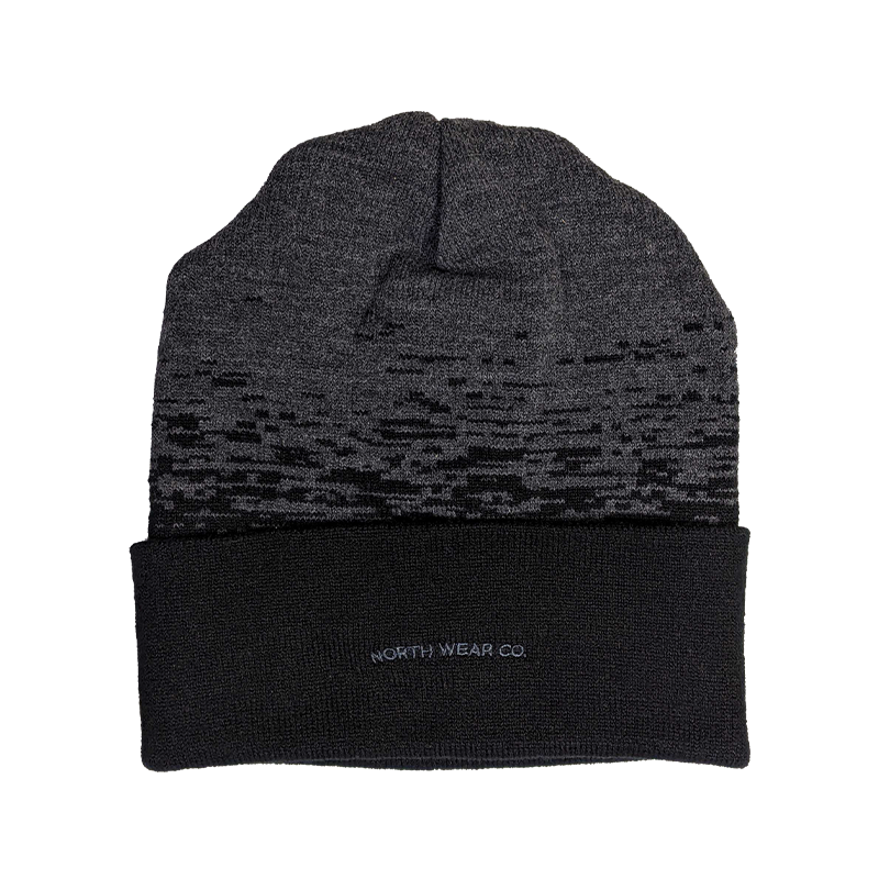"Beanie - ""NWCo. Icon (Patch)"" Black/Dark Heather Grey Static Pattern 12"" Beanie"