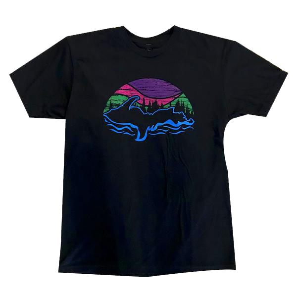 """U.P. Northern Lights"" Black T-Shirt"